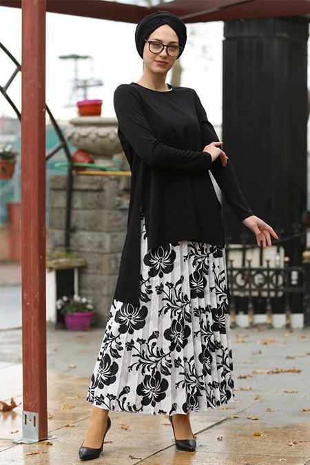 İnşirah Siyah Etek & Bluz Takım