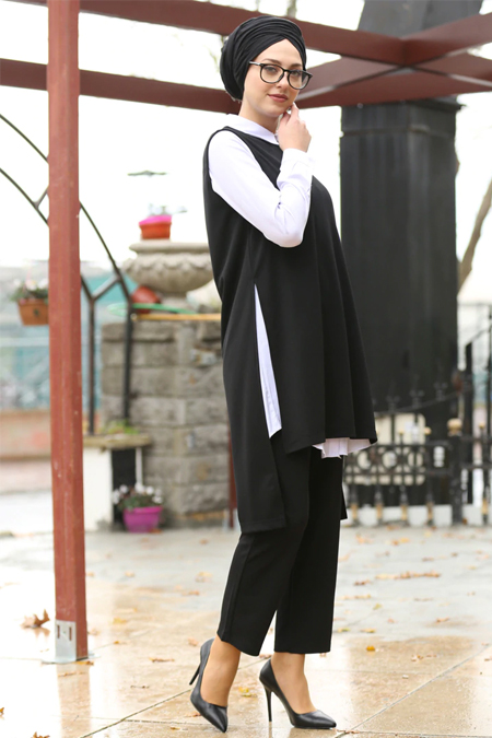 İnşirah Siyah Tunik & Pantolon İkili Takım