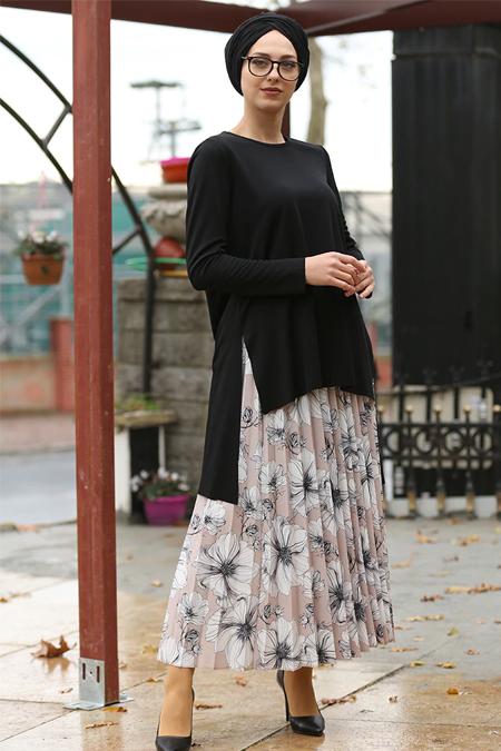 İnşirah Vizon Siyah Etek & Bluz Takım