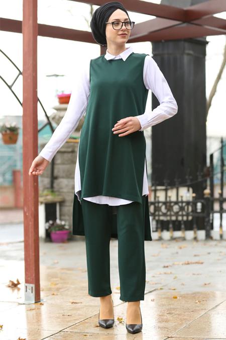 İnşirah Zümrüt Tunik & Pantolon İkili Takım