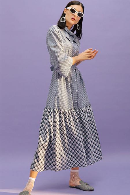 Kuaybe Gider Lacivert Kareli Çizgili Elbise