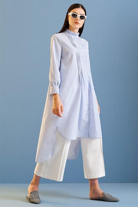 Kuaybe Gider Mavi Drape Detaylı Tunik