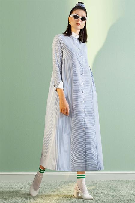 Kuaybe Gider Mavi Tesettür Elbise