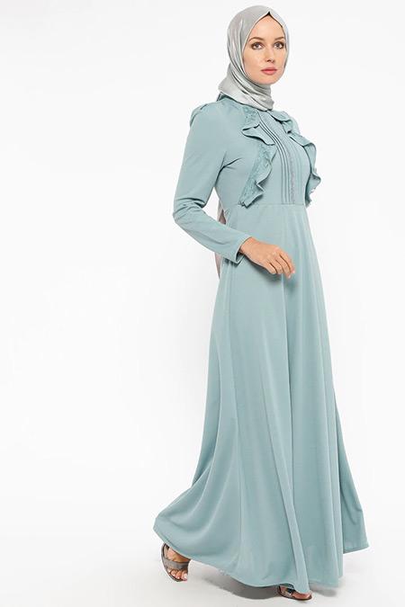 Laruj Çağla Volan Detaylı Elbise