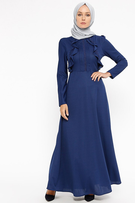 Laruj İndigo Volan Detaylı Elbise