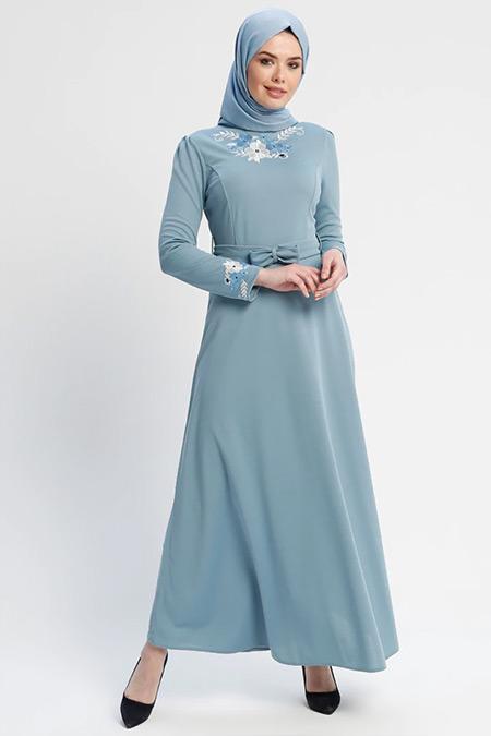 Laruj Bebe Mavi Nakışlı Elbise