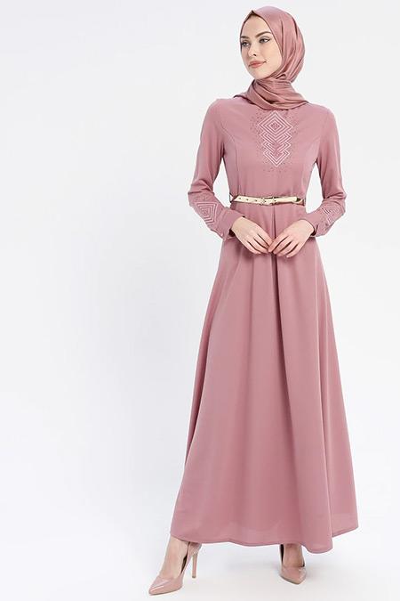 Laruj Gül Kurusu Nakış Detaylı Kemerli Elbise