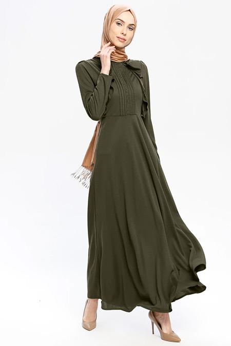 Laruj Haki Volan Detaylı Elbise