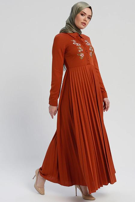 Laruj Kiremit Nakışlı Elbise