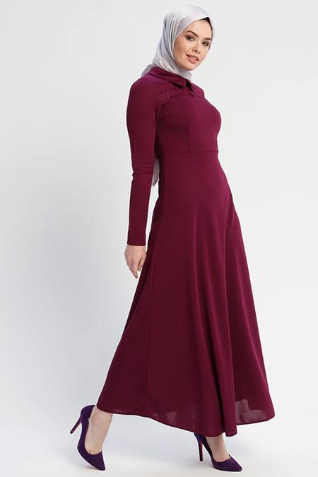 Laruj Mürdüm Güpür Detaylı Elbise