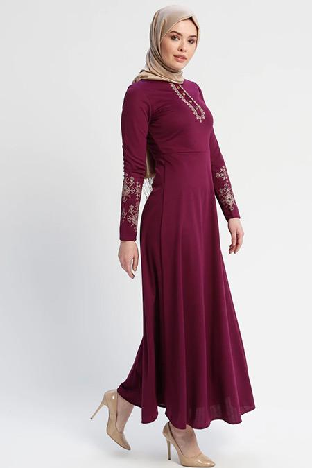 Laruj Mürdüm Nakışlı Elbise