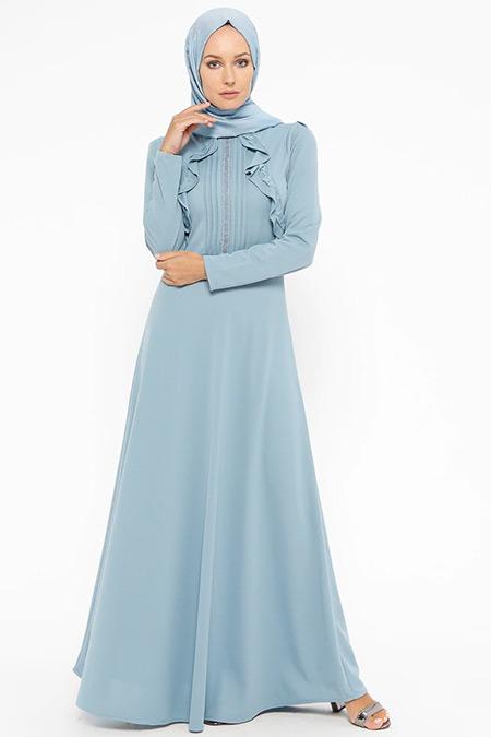 Laruj Mavi Volan Detaylı Elbise