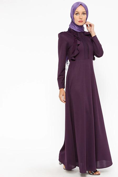 Laruj Mor Volan Detaylı Elbise