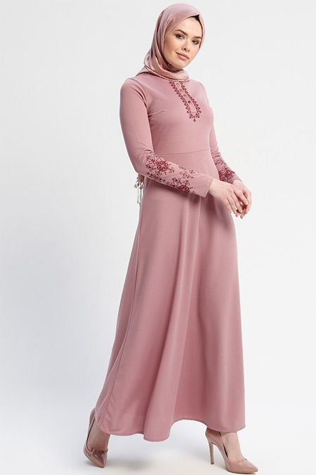 Laruj Pudra Nakışlı Elbise