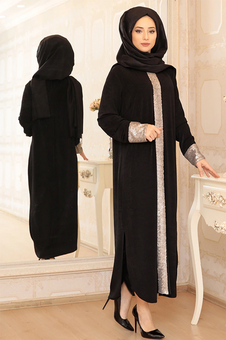 Lef`zen Siyah Elisa Uzun Payetli Tunik