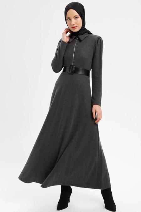 Loreen By Puane Füme Fermuar Detaylı Elbise