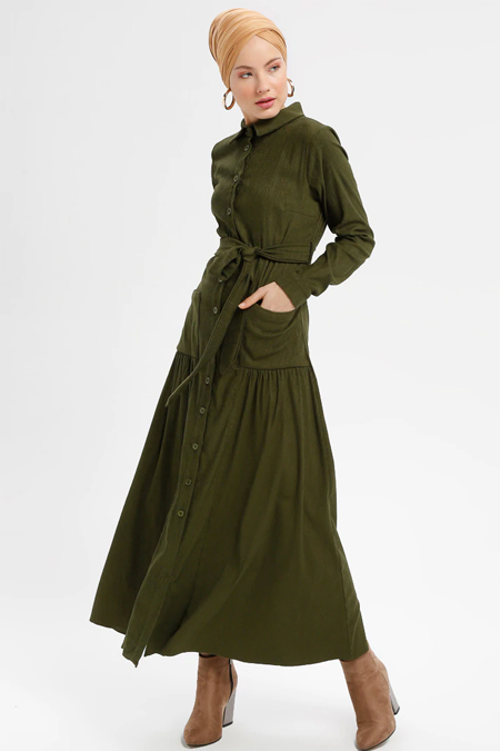 Loreen By Puane Haki Boydan Düğmeli Cep Detaylı Elbise