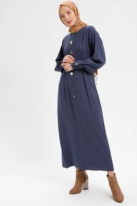 Loreen By Puane İndigo Düğme Detaylı Elbise