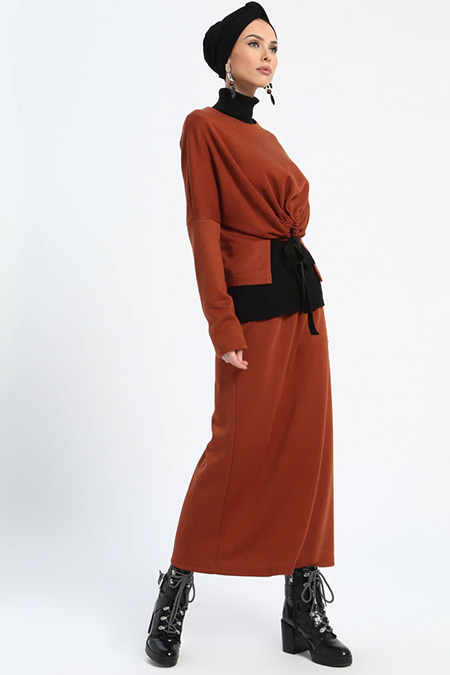 Loreen By Puane Kiremit Bluz&Etek İkili Takım