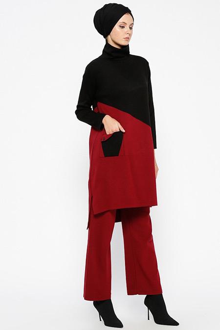 Loreen By Puane Siyah Bordo Triko Tunik&Pantolon İkili Takım