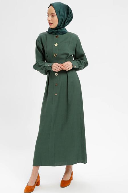 Loreen By Puane Yeşil Düğme Detaylı Elbise