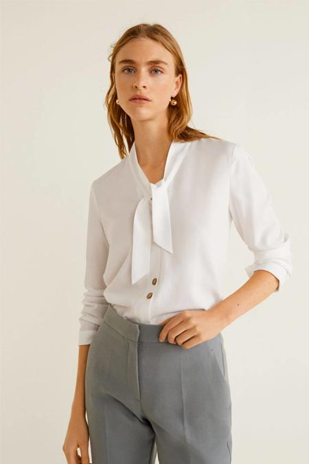 Mango Kırık Beyaz Yakası Şeritli Gömlek