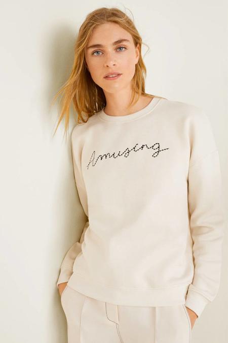 Mango Kırık Beyaz Yazı İşlemeli Sweatshirt