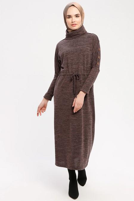 Marwella Antrasit Düğme Detaylı Boğazlı Elbise