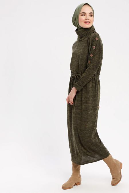 Marwella Haki Düğme Detaylı Boğazlı Elbise
