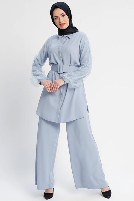 Minel Aşk Mavi Gömlek & Pantolon İkili Takım