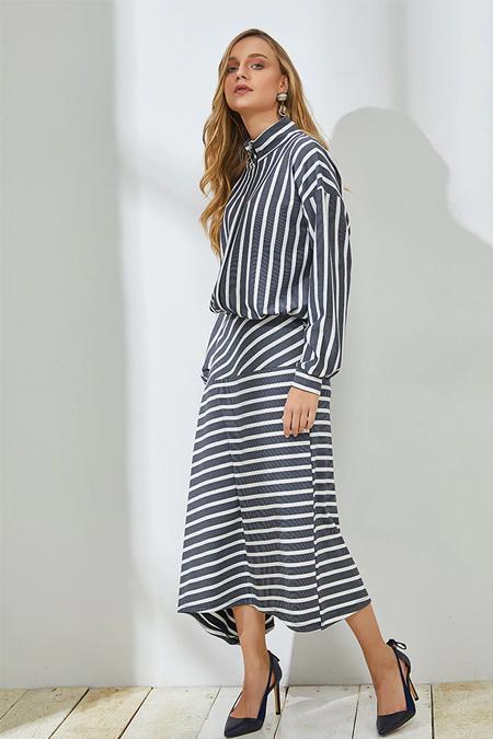 Muni Muni Lacivert Fermuarlı Asimetrik Elbise