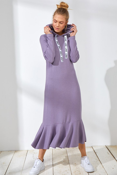Muni Muni Lila Kapüşonlu Elbise