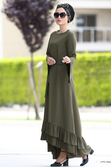 Myzen Haki Volan Kol Salaş Fırfır Elbise