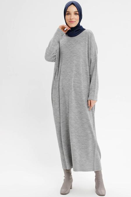 d44a248c9842c NOVİNZA Gri Salaş Triko Elbise Online Satış, İndirimli Satın Al