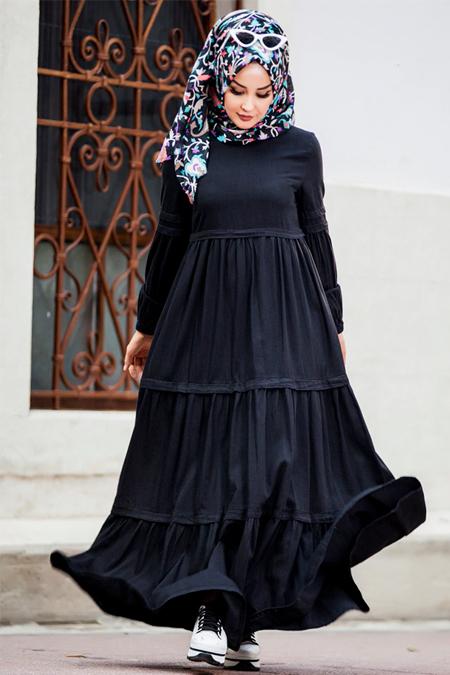 Neways Siyah Kot Elbise