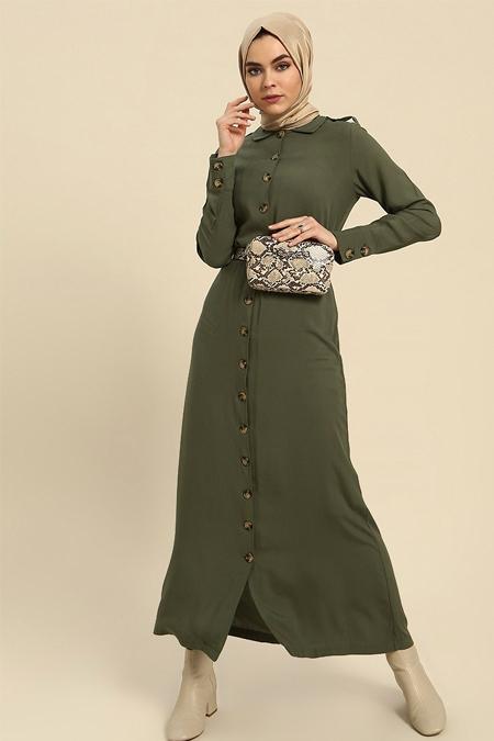 Refka Haki Doğal Kumaştan Boydan Düğmeli Elbise
