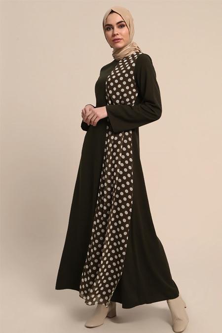 Refka Haki Puantiyeli Elbise