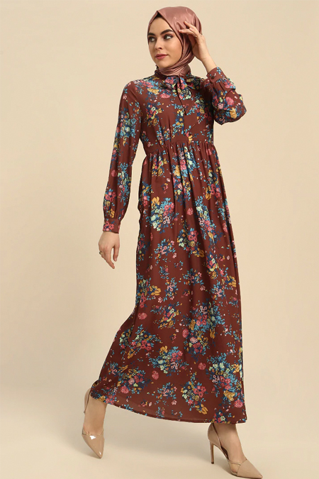 Refka Kahverengi Çiçekli Uzun Elbise