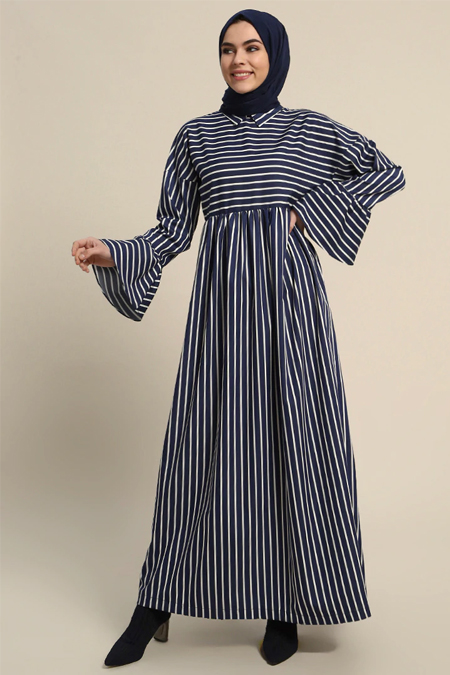 Refka Lacivert Çizgili Uzun Elbise