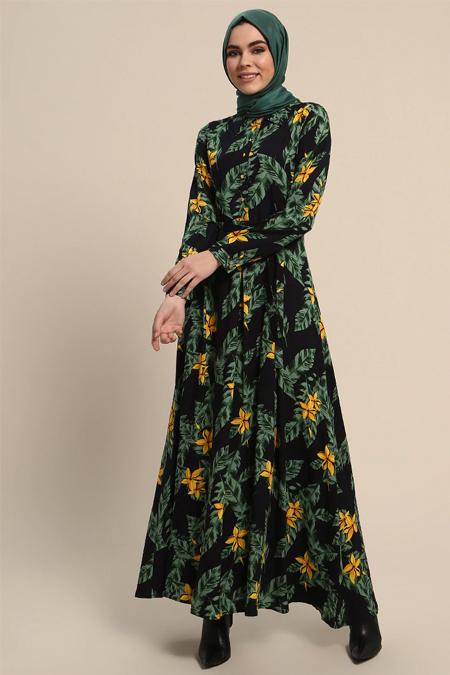 Refka Lacivert Desenli Düğmeli Elbise