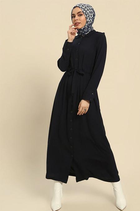 Refka Lacivert Doğal Kumaştan Boydan Düğmeli Elbise