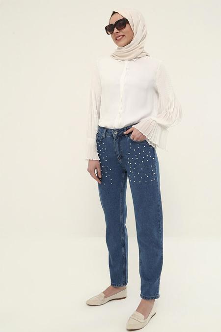 Refka Lacivert İnci Detaylı Kot Pantolon