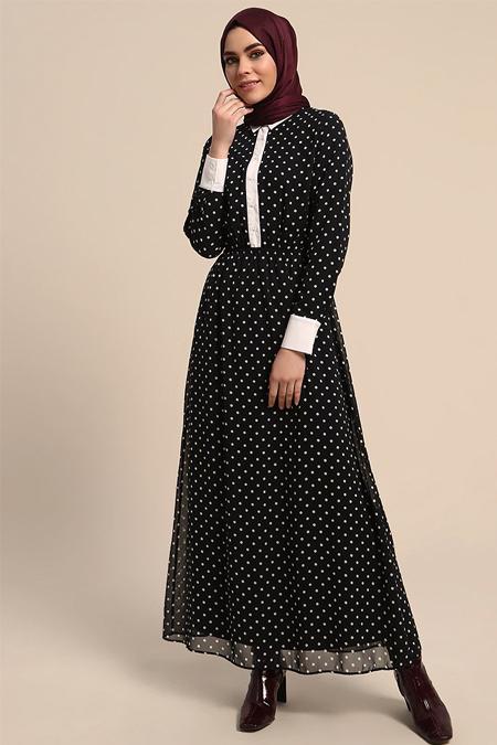 Refka Lacivert Puantiyeli Elbise