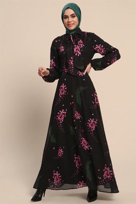 Refka Siyah Yakası Bağlamalı Desenli Elbise