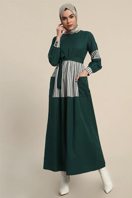 Refka Zümrüt Cep Detaylı Çizgili Elbise