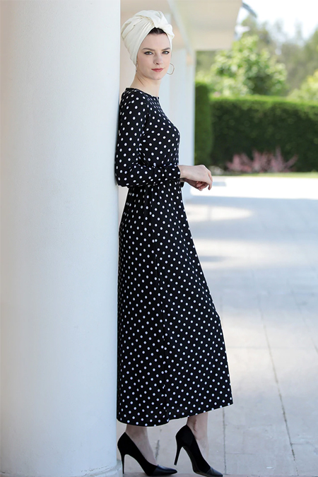 Selma Sarı Design Ekru Siyah Lale Elbise