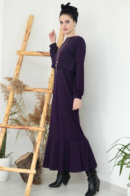 Selma Sarı Design Mor Kolyeli Viole Elbise