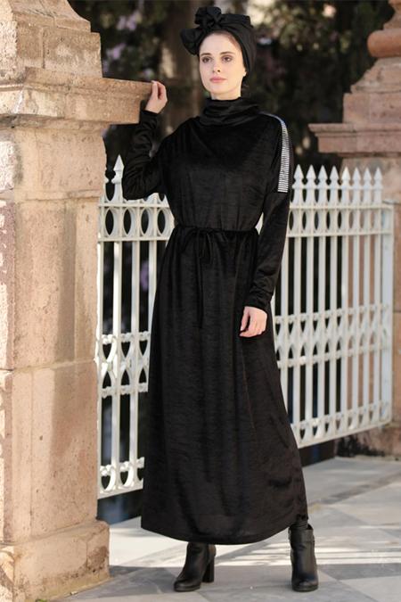 Selma Sarı Design Siyah Gümüş Şerit Detaylı Kadife Elbise