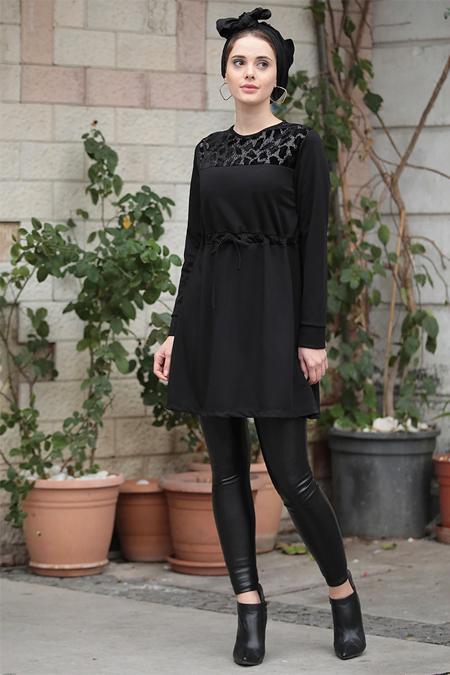 Selma Sarı Design Siyah Kadife Pul Detaylı Salaş Tunik