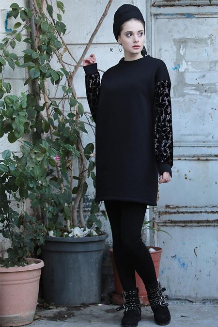 Selma Sarı Design Siyah Payetli Sweat Tunik